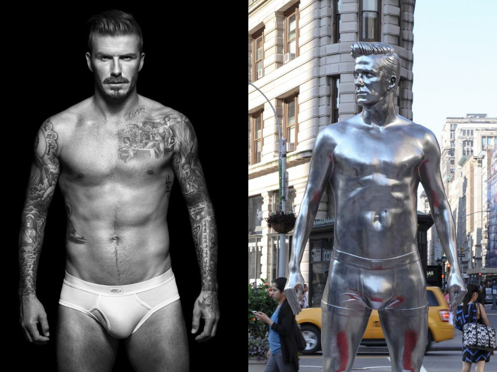 *H&M的300公分巨大貝克漢雕像:Beckham's Bodywear Collection statues 1